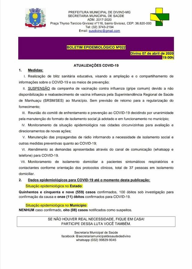Sobem para 08 o número de casos notificados como suspeitos de Covid-19 em Divino