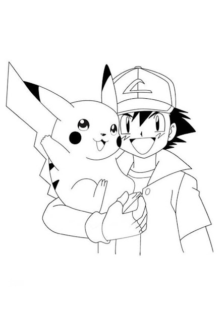 Ash And Pikachu Coloring Page