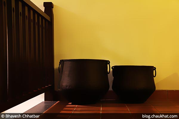 Antique large cooking vessels of Savya Rasa [Koregaon Park, Pune]