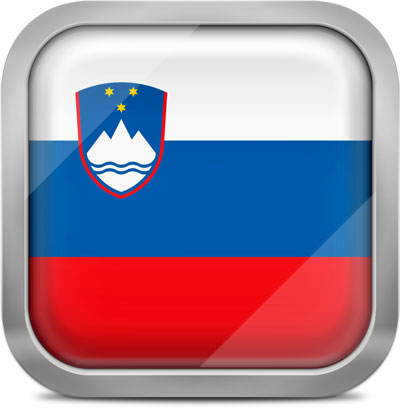 Slovenia square flag with metallic frame