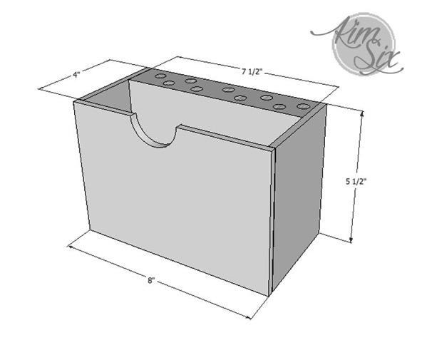 Desk organizer size schematic