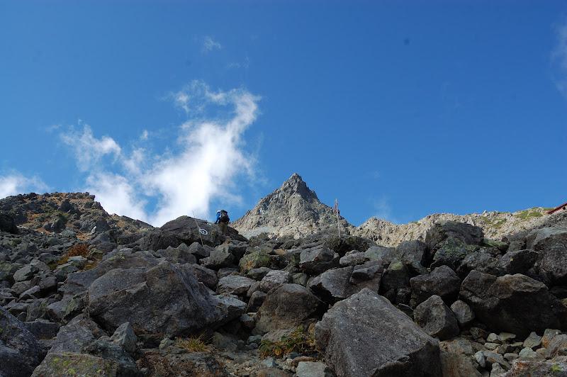 槍ヶ岳山荘への急登