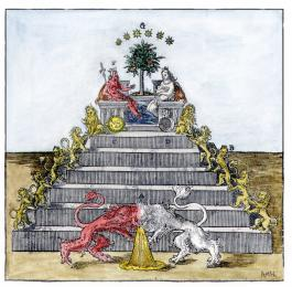 Pyramid Of Lions From Andreas Libavius Alchymia Frankfurt 1606, Alchemical And Hermetic Emblems 1