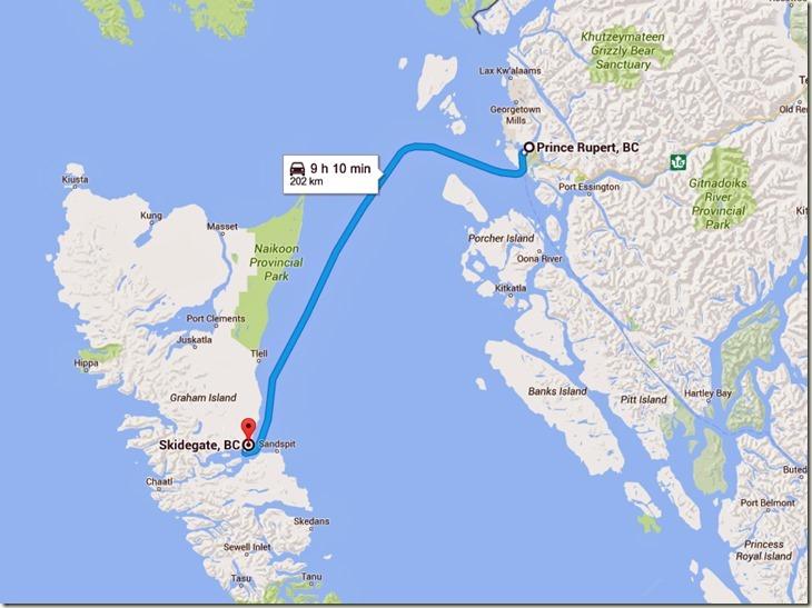 Prince Rupert, BC to Skidegate, BC - Google Maps
