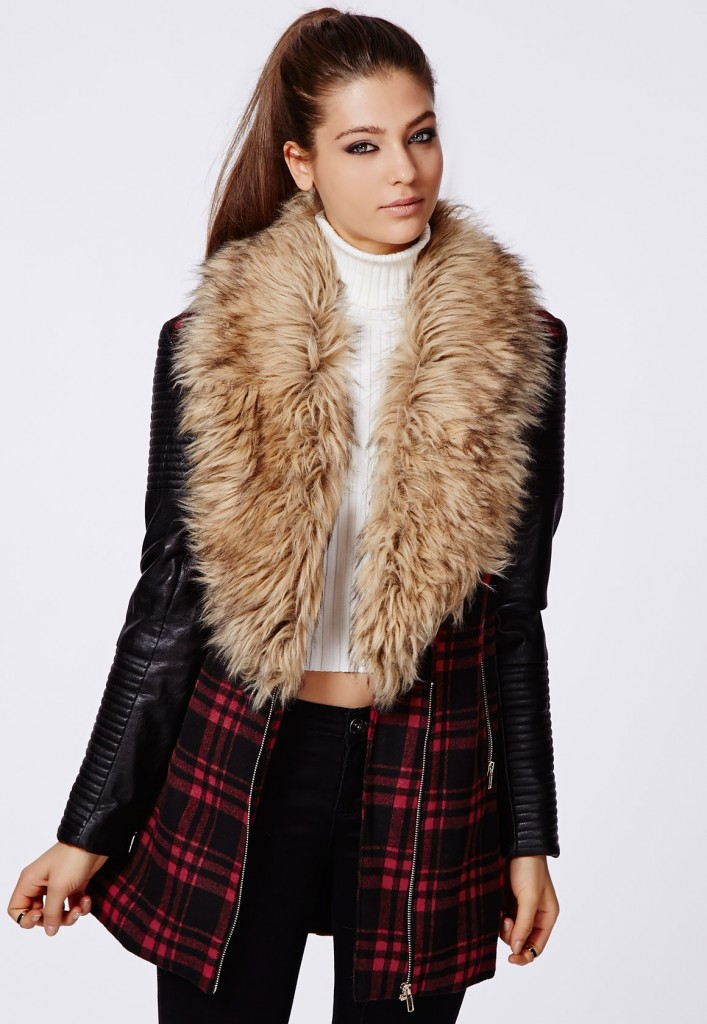 Leather Fur Jacket Womens - Jacket