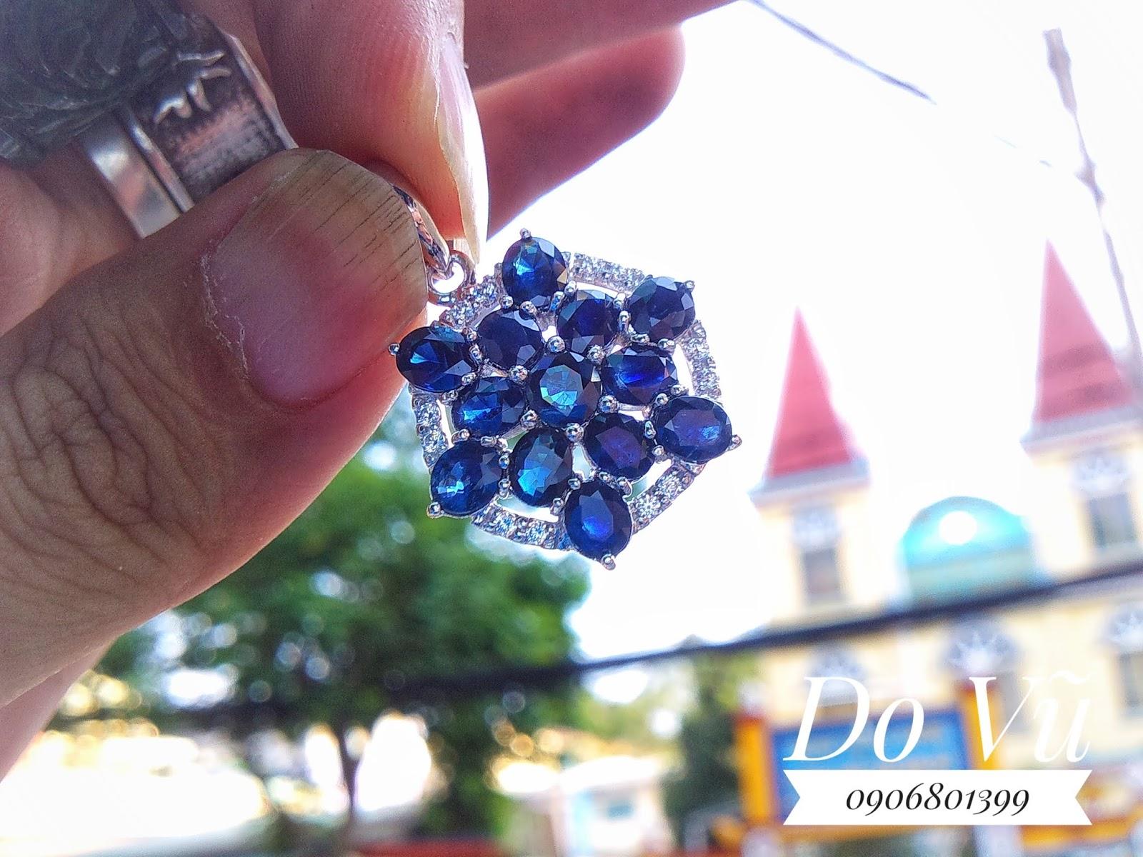 Mặt dây đá Sapphire thiên nhiên xanh hero, bạc 925 ( 13/04/20, 01)