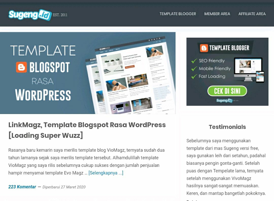 Template blogger mirip sugeng.id, template linkmagz terbaru