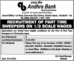 Andhra Bank Recruitment 2017 Hubballi