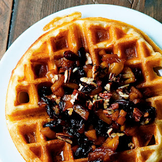 Malted Yeast Waffles with Apple Cranberry Compote