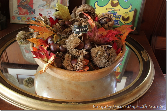 Fall Chestnuts in Wood Bowl Vignette