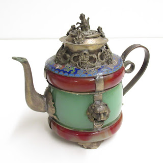 Jade, Carnelian and Cloisonne Antique Chinese Teapot