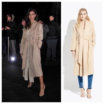 Emily Ratajkowski at the Juventus Party in Cream Ayr The Fold Coat