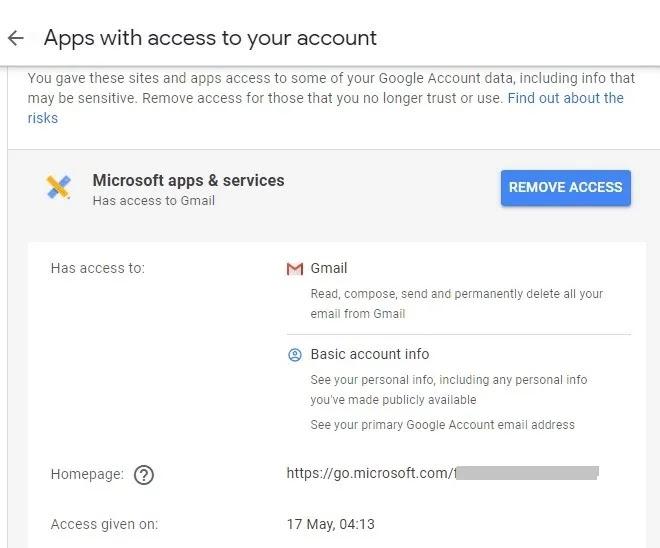 جميع حسابات البريد الإلكتروني Google Remove Access
