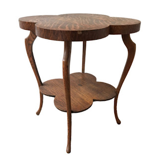 Oak Cloverleaf Accent Table