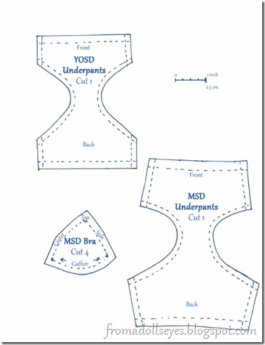 Underwear and bra patterns for MSd and Yosd sized ball jointed dolls, with tutorial.