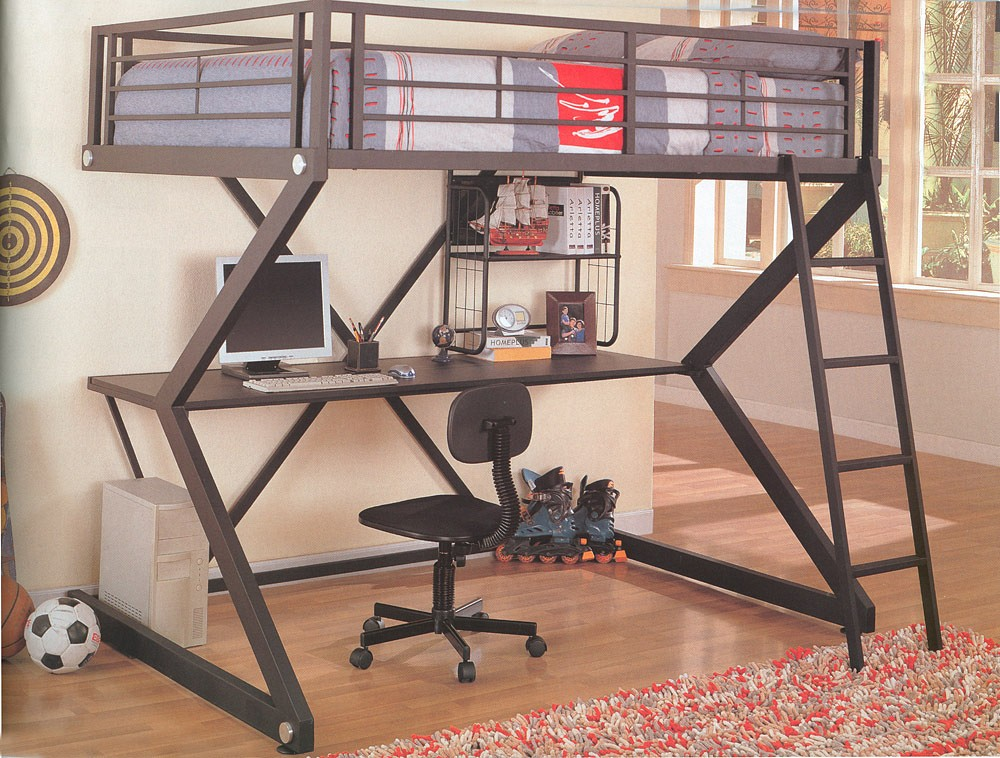 bedroom design decor metal bunk beds with desk