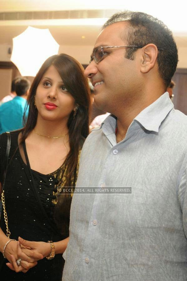 Virender Sehwag and Aarti during the wedding anniversary.