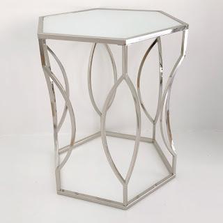 Chrome Hexagonal Accent Table