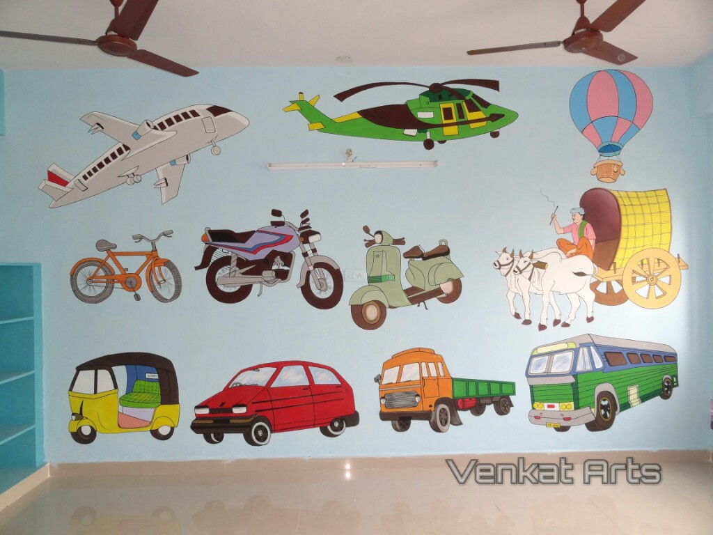 Wall Art For Play School : Play school cartoon painting all over india