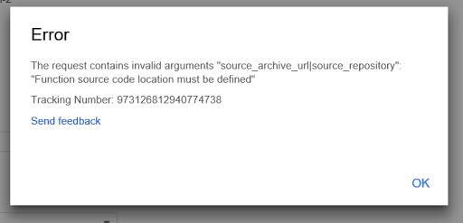 Copy Function: 'no source code location' error