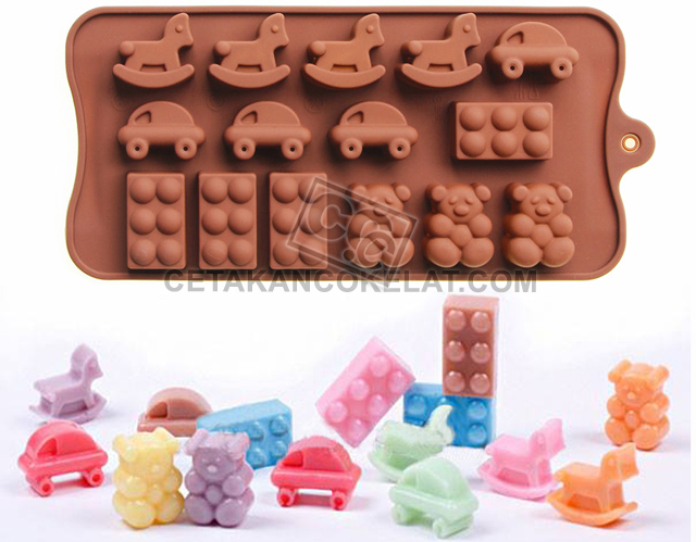 cetakan coklat cokelat SIL064 SIL64 mainan lego kuda mobil teddy