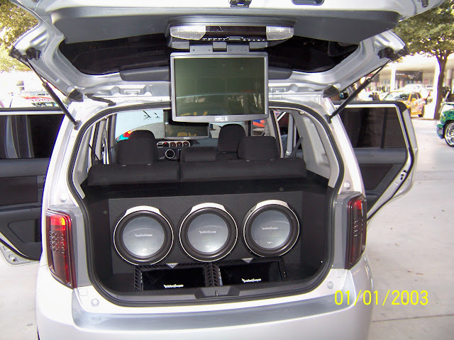 Kenwood 3 subwoofers with flip down TV