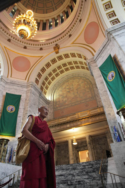 Ven. Paden Gyatso in the State Capitol Dome heading to Gov's Office to drop of an appeal letter 10/19/11