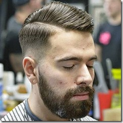 Mid Skin Fade with Hard Side Part and Beard