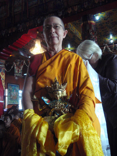 Ani.Karin offering long life statue Kopan Monastery Dec 2008.