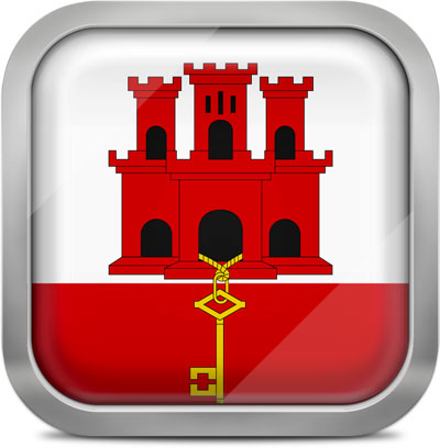 Gibraltar square flag with metallic frame