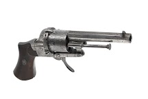 This is a double-action-only 7mm pinfire revolver made by Eugene Lefaucheux follows his patent from 07 June 1858.<br>On the barrel is inscribed 'DUMOULIN ARQer À ROUEN'