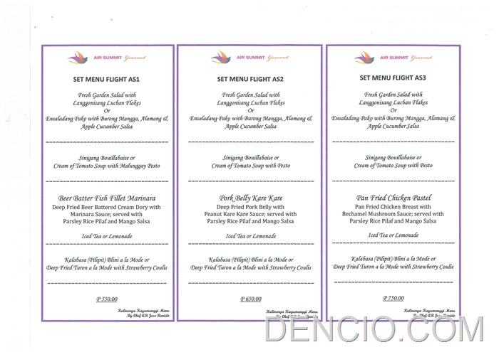 Air Summit Gourmet Airplane Restaurant Menu
