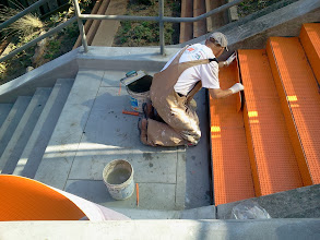 Photo: First full day of work (October 25, 2013) with KZ Tile worker (Henry) placing the Schluter-DITRA underlay material on the Hidden Garden Steps site (16th Avenue, between Kirkham and Lawton streets in San Francisco's Inner Sunset District) before installing the 148-step ceramic-tile mosaic designed and created by project artists Aileen Barr and Colette Crutcher. For more information about this volunteer-driven community-based project supported by the San Francisco Parks Alliance, the San Francisco Department of Public Works Street Parks Program, and hundreds of individual donors, please visit our website at http://hiddengardensteps.org.