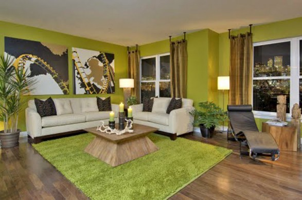 farbgestaltung - 21 tipps für harmonisch grüne wohnräume - Wohnzimmer Orange Grun