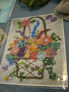 Sandy Cofer's unique May Basket block. Look at all those tatted flowers!