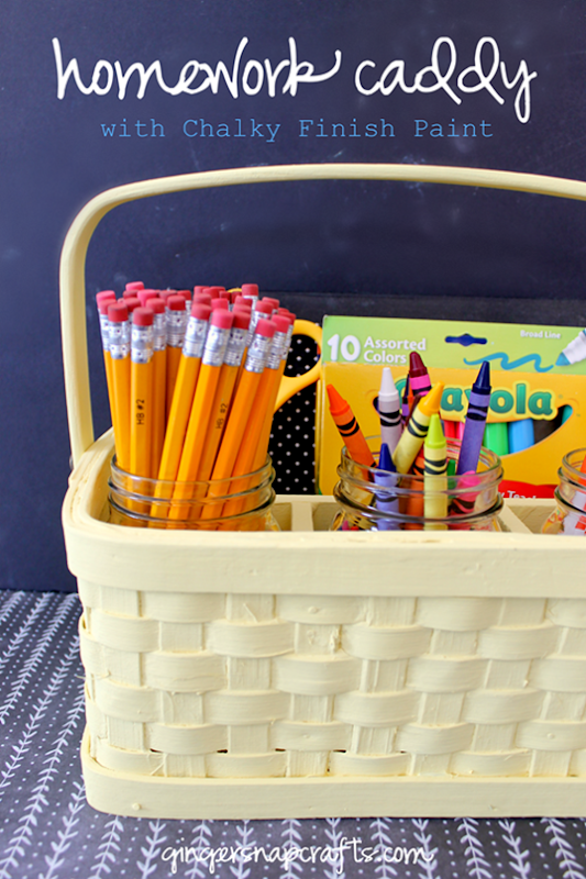 Homework Caddy with Americana Decor Chalky Finish Paint at GingerSnapCrafts.com #Decoart #ad_thumb
