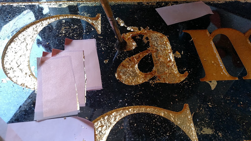 carved granite - gilding in progress