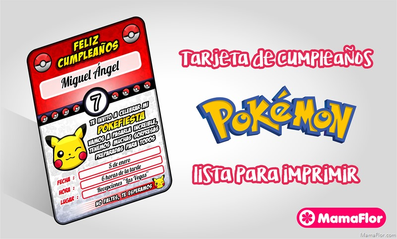 Pokemon: Invitaciones para Imprimir Gratis