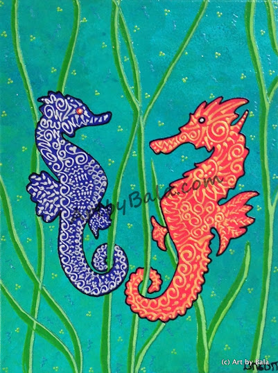 Henna style sea horses painting on canvas