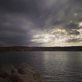 Stormy sunset by Nat Bolfan-Stosic - Landscapes Sunsets & Sunrises ( clouds, sky, sunset, sea, storm )