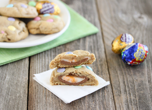Cadbury Eggs Stuffed Chocolate Chip Cookie