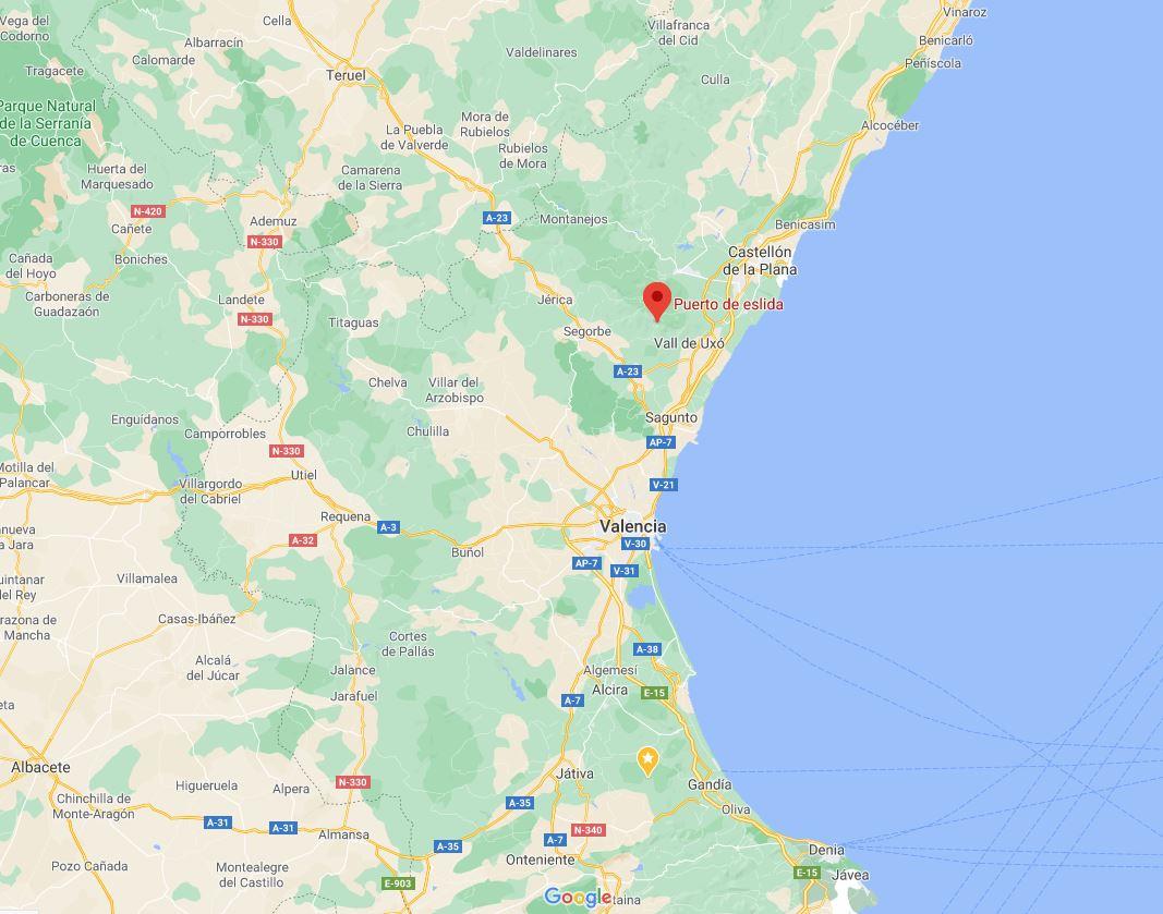 Location of the Puerta de Eslida, in the province of Castellón, Valencia, Spain