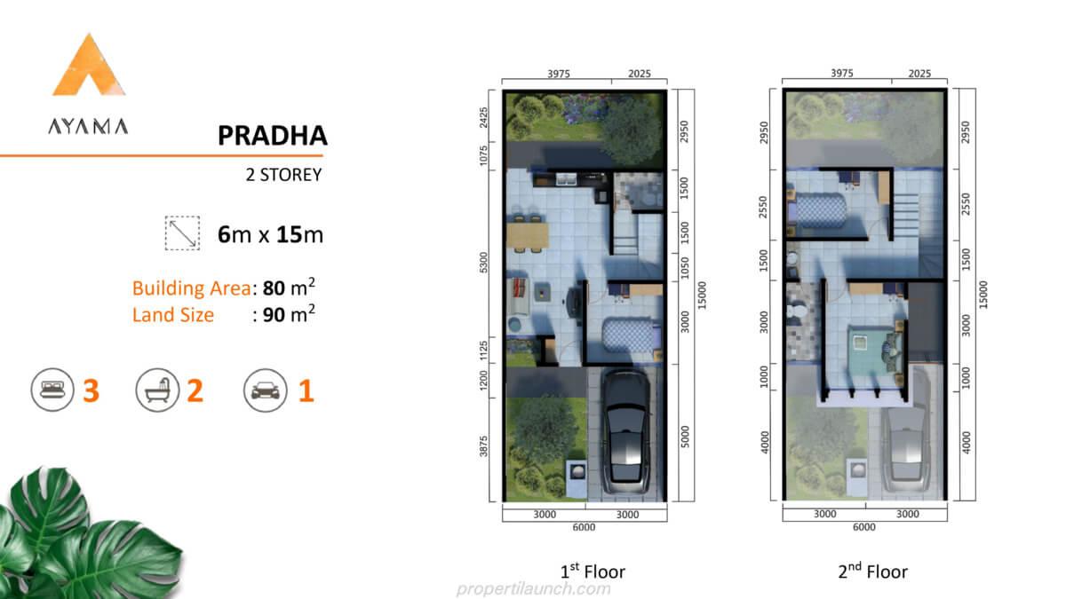 Denah Rumah Ayama Bhumi Amala Tipe Pradha 2 lantai
