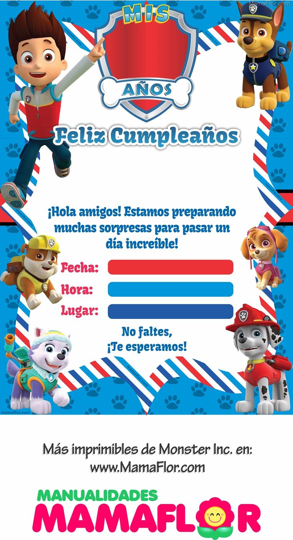 Patrulla Canina Imagen Cumpleaños Imprimir Fiesta Invitaciones