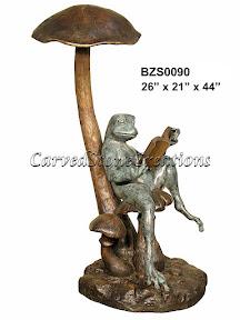 Book, Bronze, Frog, Mushroom, Reading, Statue
