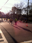 The first female full marathoner coming into Piedmont Park!