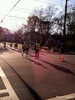 The first female full marathoner coming into Piedmont Park!