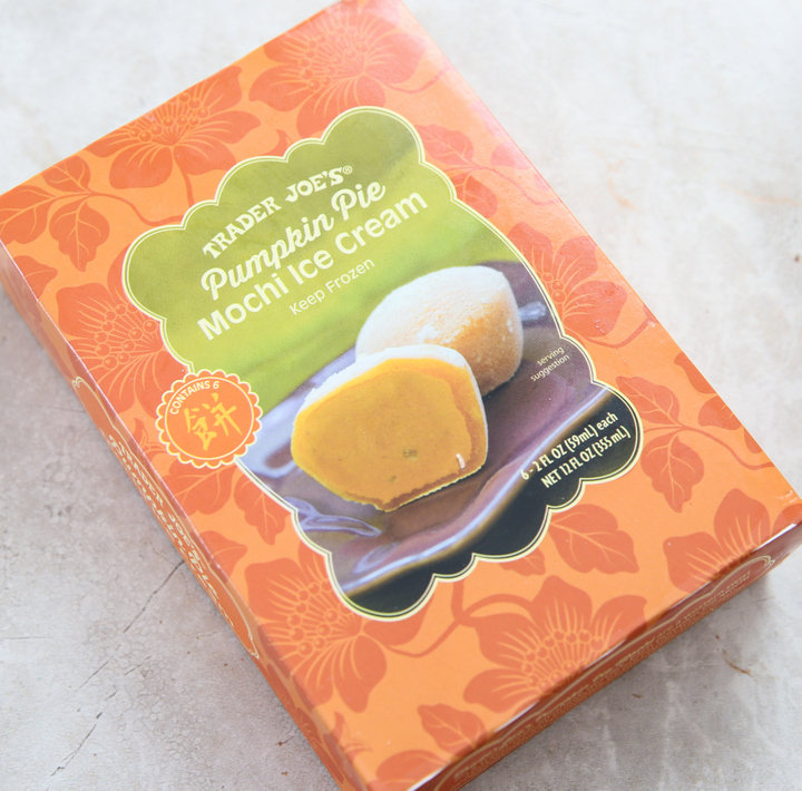 overhead photo of a box of Pumpkin Pie Mochi Ice Cream