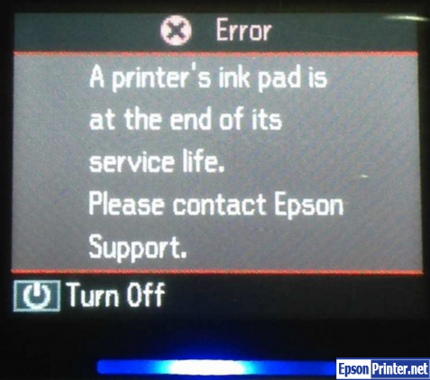 Fix Epson SX125 ink pads are at the end of their service life