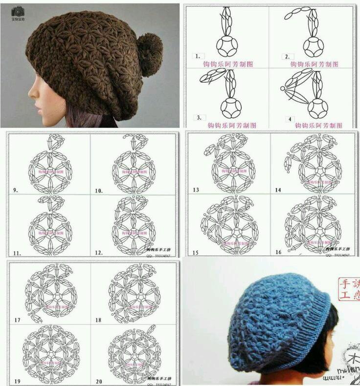 lo spazio di lilla  Schemi di cappelli all uncinetto   Crochet hats ... a1fb215a2151